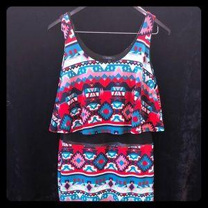 Aztec-print sleeveless dress